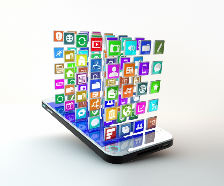 Mobile Phone with cloud of application icons flying arround